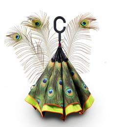 Wholesale Peacocks Sale - Hot Sale Women Sun Rain Gear Parasol Gift Double Layer Inverted Self Stand Out Rain Umbrella Inside Black peacock Feathers