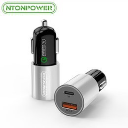 Wholesale Qualcomm Mobile Phones - NTONPOWER 2 Port USB Car Charger Qualcomm Quick Charge 3.0 QC 2.0 Compatible and Type C 3A Fast Charging for Smart Mobile Phone