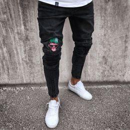 Wholesale Men Designer Wears - Designer Mens Skinny Jeans Black Blue Rip Slim Fit Stretch Casual Denim Street Wear Biker Jeans Hole Hip Hop Jeans S-4XL