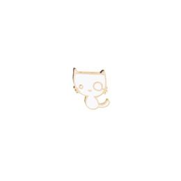 Ossa del pulsante online-Cartoon White Kitten Cat Fish Bones Spilla Pin Button lega smalto divertente mangiare pesce pin per zaino camicia fai da te distintivo icona regalo