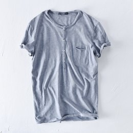 Wholesale Flax S - NEW summer flax t shirt men Retro solid round neck 100%cotton linen top&tee for man Natural materials soft clothes Asian size