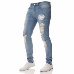 Wholesale Color Skinny Jeans For Men - 2018 new hot sale Men Jeans Fashion Slim Pure Color Hole Washed Denim Blue Pants for Male skinny elasticity Casual Trousers