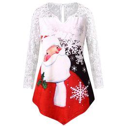 Plus Size 5XL Womens Tops and Blouses Lace Hollow Out Camicetta Camicetta  Natale Sexy Top vestiti Camicetta Camicie roupa feminina 2018 le donne sexy  più le ... 1cb6aea19b6