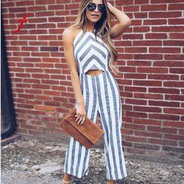 bc6e5c33ea2 Striped jumpsuits for women 2018 New Fashion Casual Clubwear Wide Leg Pants  rompers womens jumpsuit women macacao feminino boho