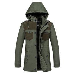 Wholesale Trench Coat Big Man - Hooded winter warm fleece trench coat mens overcoat cotton patchwork fitness men trenchcoat single breasted windbreaker big size