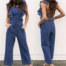 3f582c94389 Fashion Casual Women Ladies Jumpsuit Playsuit Jeans Denim Blue Denim  Overalls Loose Trousers Pants Summer Blackless Romper discount denim jean  jumpsuit ...