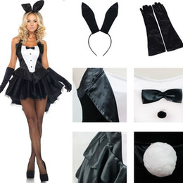 Wholesale Sexy Bunny Costume Cosplay - S-XXL Sexy Fashion Bunny Girl Rabbit Cosplay Adult Costume Carnival Clubwear Clothes Supplies Gift (Top+Skirt+Headpiec)