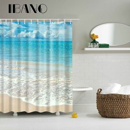 Deutschland Sea Beach Road Muster Duschvorhang Wasserdicht Polyester Stoff Vorhang Für Das Bad Mit 12 STÜCKE Haken cheap bathroom curtain patterns Versorgung
