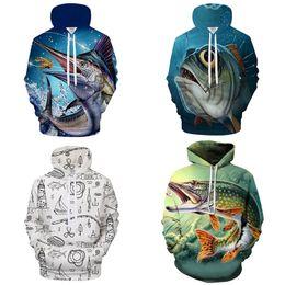 Wholesale Fishing Shirt Xl Long Sleeve - 3D boy men Hot Designer brand Fashion 2018 cartoon fish printing mens Digital Street hip-hop hoodie Sweater shirt jerseys S~6XL 180219004