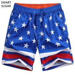b09f0657d5 New Smartsugar Casual Loose Elastic Waist Print Beach Shorts Men Usa Flag  Board Shorts 100 %Cotton Breathable Soft Men Short Bathing