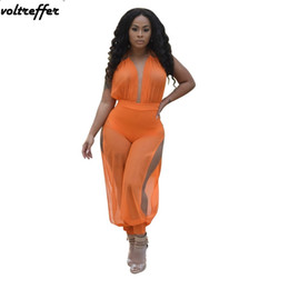 Wholesale Halter Mesh Jumpsuit - Orange Halter Jumpsuit Open Back Rompers Flare Pants Overalls Sexy Club Wear Loose Costumes Mesh Perspective Summer 2018 New