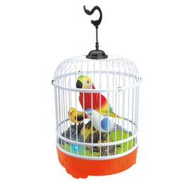 Wholesale bird electronics - EFHH Sound Control Induction Cage Electric Toy Animal Model Include Three Birds Educational Toys Drop Shipping 5161005