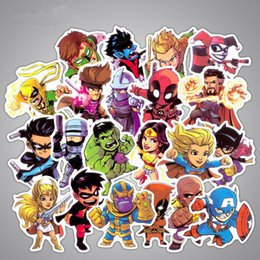 funny cartoons kids Promo Codes - 50Pcs Lot Marvel Anime Classic Stickers Toy For Laptop Skateboard Luggage Decal Decor Funny Iron Man Spiderman Stickers For Kids Car sticker