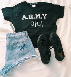 82d3d1034 Korea Fashion Hip Hop A .R .M .Y Bts T-Shirt Tumblr Graphic Streetwear Cool  Shirt Letter Print Tees Tops Cotton Outfits Female