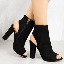 Wholesale black peep toe sandals - Muqing 2017 Women Fashion Suede Ankle Boots Square Heel Peep Toe Open Toe High Heel Lady Sandals With Zipper 7N0039