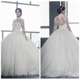Wholesale long dresses cheap online - High Neck 2018 Elegant Cheap Sale Long Sleeves Ball Gown Wedding Dresses Lace Appliques Bridal Gowns Custom Online Vestidos De Mariee Long