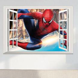2019 autoadesivo dell'uomo del ragno 3d Spider Man 3D Window View Grande Wall Sticker Vinyl Decalcomanie Murale Art Home Decor Bambini Ragazzi Camera dei bambini autoadesivo dell'uomo del ragno 3d economici