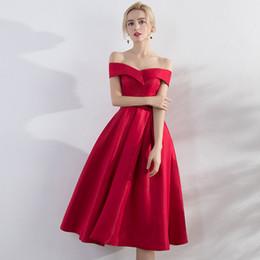 Argentina burdeos corto rojo vestidos de fiesta 2018 nuevo fuera del hombro cubierto té largo formal supplier tea length off shoulders red dress Suministro