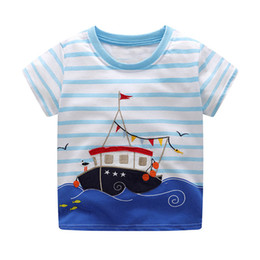 Wholesale boys shorts dinosaurs - Baby Summer Dinosaurs Appliqued Tshirts Fashion Children Clothing Cotton Animals Printed Baby Boy Tops 6pcs lot
