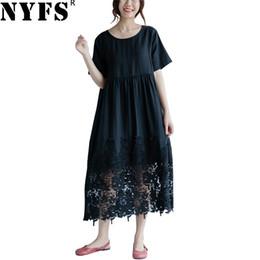 NYFS 2018 Yeni Yaz elbise Vintage Pamuk Keten Kadınlar Dantel Elbise Gevşek rahat Katı Uzun Vestidos Robe Elbiseler supplier vintage linens lace nereden eski çamaşırlar dantel tedarikçiler