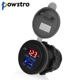 Wholesale Motorcycle 12 Usb - Powstro LED Car 2.1A USB Socket Charger Outlet with Voltmeter Modification Accessory for Motorcycle Motor Truck ATV Boat 12-24V