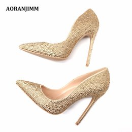 21cce98a25 Free Shipping woman women lady 2018 real pic champagne stone gold crystal  pointed toe hot sale 120mm high heel evening party wedding shoes
