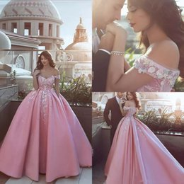 Wholesale bridal formal wear - Pink Off Shoulder Prom Dresses with Appliques Flowers Said Mhamad Satin Formal Dresses Evening Wear Zipper Back Custom Made Bridal Gowns