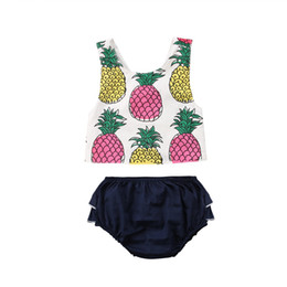 Wholesale cute baby girl clothes wholesale - Newborn baby girls clothes yellow pink pineapple Top+shorts 2pcs set outfits baby girls clothing toddler summer boutique wholesale factory