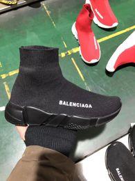 2019 botas de malha sapatos Boa Qualidade Vermelho preto Trainer de Velocidade Sapato Casual Homem Mulher Meia Botas Com Caixa de Stretch-Knit Casual Botas Corredor Corredor Barato Sneaker Alta 220 botas de malha sapatos barato
