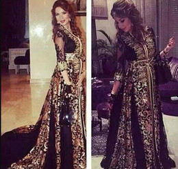 zuhair murad forro desnudo Rebajas 2018 Dubai Arabic Kaftan Gasa negra Vestidos de noche de manga larga Largo Oriente Medio Vestidos De Fiesta Con cuello en v vestido de fiesta musulmán 2018