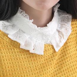 Wholesale White False Collar - 2018 New Style Women Lace Floral New Blouse False Collar Clothes Shirt Detachable Collars lace blouse camisa feminina