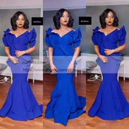 Wholesale Cheap Plus Size Maternity - 2018 Black Girls Royal Blue Mermaid Prom Dresses Plus Size South African Satin Cheap Evening Gowns Formal Party Dress