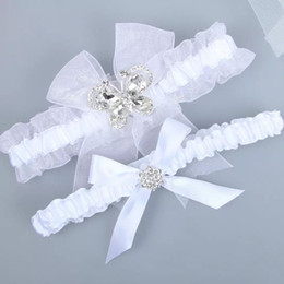 Wholesale Garters Stockings Legs - 2pcs Set Crystal Beads Bow Bridal Garters For Wedding Garters In Stock Handmade Stain Bride Leg Garters Cheap