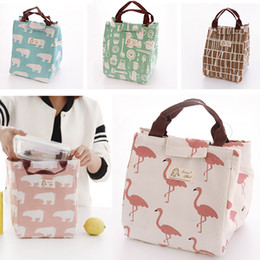Wholesale Food Storage Baskets - Canvas Insulated Lunch Bag Flamingo Bear Drawing Picnic Lunch Pouch Bag Baskets With String Home Storage Organization HH7-424