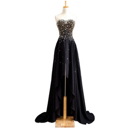 Perline Prom Dresses in chiffon Sweetheart 2019 New High Low Party Dress Black Prom Gowns Lace Up da abiti shipp fornitori
