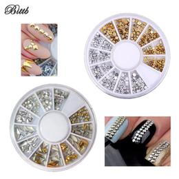 2019 decorazioni finte di diamanti Bittb 50Set Nail Decor Rhinestones Inlay Beige Mix Color Nail Punteggiatura Diamond Metal Glitter 3D Art Pietre di diamante finte decorazioni finte di diamanti economici