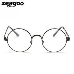marcos de gafas unisex de metal redondo Rebajas Zeagoo Redondo Lente Retro Claro Marco de Metal Unisex Gafas de Moda Gafas de Aleación de Círculo Accesorios de gafas de Varios Tipos