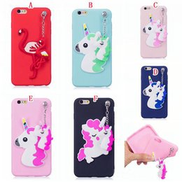 Wholesale Cute Silicone Phone Cases - Unicorn Pendant Cartoon Cute 3D Soft Silicone Phone Cover Case For Iphone x 8G 7 6S 5G Samsung Galaxy S8 Plus Note 8
