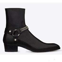 Wholesale Cowboy Boots Dresses - Hot sale Brown Leather Men Dress Shoes Botas Wyatt Biker Chains Ankle Boots Mens Shoes Pointed Toe Militares Shoes Men Buckle Men Boots