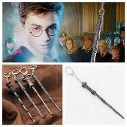 Wholesale Harry Necklace - 8 Harry Hermione Dumbledore Lord Voldemort Magic Wand Pendant Necklace Keychain for Women Men Potter Fans Jewelry Gift CNY59
