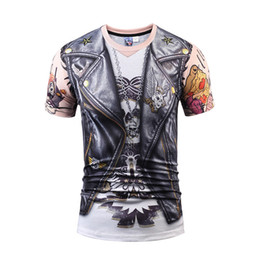 Wholesale leather summer jacket - Designer Stylish 3d T-shirtds Men Women Tops Print Fake Leather Jacket T shirt Summer novelty Tee Shirts