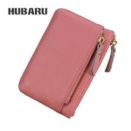 ladies small wallet Coupons - HUBARU Cow Leather Fashion Simple Coin Purse Women Mini Purse Key Holder Lady Zipper Wallet Female Small Money Clutch Clamp Girl
