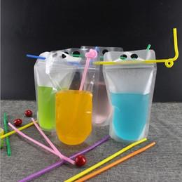 aufstehen beutel Rabatt Klare Getränkebeutel Gefrosteter Beutel mit Reißverschluss Stand-up-Trinkbeutel aus Kunststoff mit Strohhalm und Halter