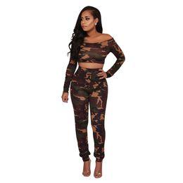 Camuflaje yoga pantalones mujeres online-Manera larga de las mujeres de moda caliente camiseta traje pantalón sin tirantes de camuflaje de manga larga ropa pantalón mono