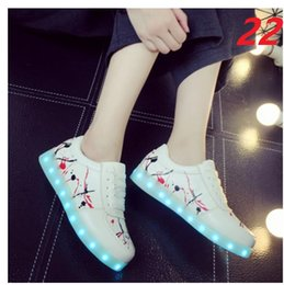 Wholesale Usb Champagne - Men Women LED Shoes Light Up Sneakers Colorful Flashing Shoes with USB Charging Luminous Party Casual Shoes for Kid and Adult