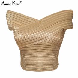 Gilet d'oro per le donne online-Amee Kerr Gold Bandage Slash Neck senza maniche Crop Top Maglia donna Bralet Celeb Top Camis