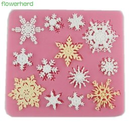 Wholesale Snowflakes Cake Mold Silicone - 3D Christmas Snowflake Shape Silicone Molds Fondant Cookie Mold Candy Cake Decorating Moulds Kitchen Baking Tool Cake Decoration