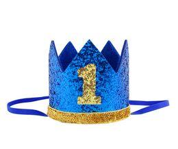 Boy Blue Silver primo compleanno cappello ragazza oro rosa Priness Crown numero 1 ° 2 3 anni partito cappello Glitter compleanno fascia spedizione gratuita da cappelli del partito di compleanno blu fornitori