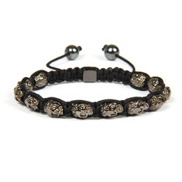 Wholesale Exquisite Silver Jewelry - New Brand Exquisite 4 Colors Antique Gold And Silver Skull Shamballa Men's Bracelet Jewelry For Gift