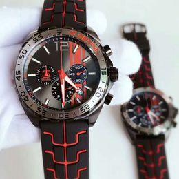Wholesale Red Wrist Strap - luxury brand Tag F1 Senna Wrist Watch Black steel case Rubber strap Sport quartz movement Multifunctional chronograph calendar Mens watches